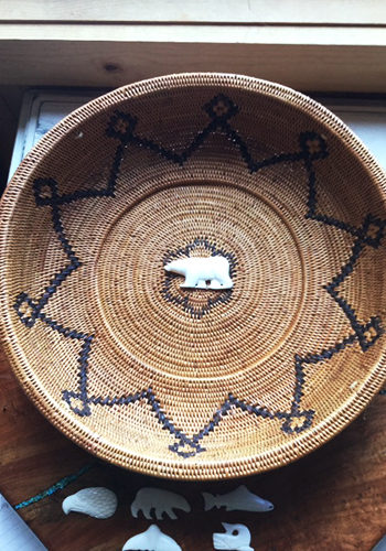 Round Basket with Carved Bone