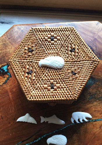 6 Sided Grass Basket with Carved Bone