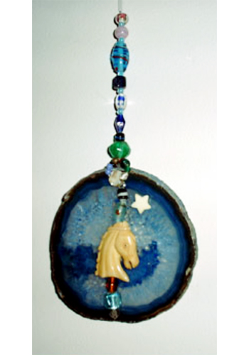 Agate Suncatchers with Carved Bone Horse