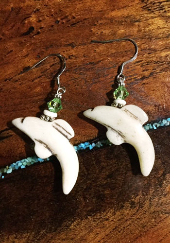 Carved Bone Dolphin Earrings