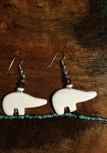 Carved Bone Polar Bear Earrings