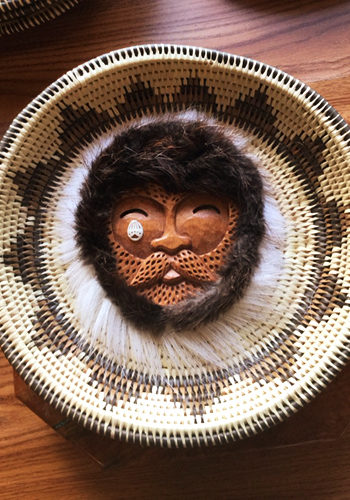 Spirit Mask Design on a Flat Basket