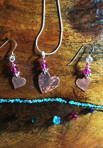 Hammered Copper Heart Necklace