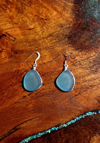 Sea Glass Bezeled Free Form Earrings