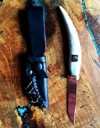 "Caribou Antler Handle Mini Trapper Knife with a 3 1/2"" blade and a leather sheath"