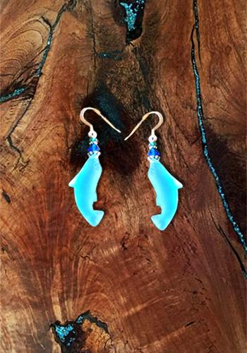Sea Glass Dolphin Earrings for sale online - Alaskan Reflections