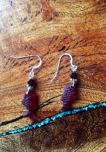 Sea Glass Fish Earrings