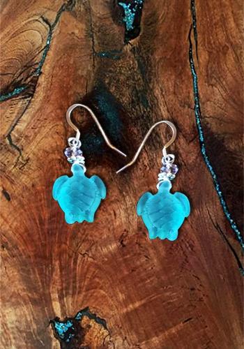 Sea Glass Turtle Earrings